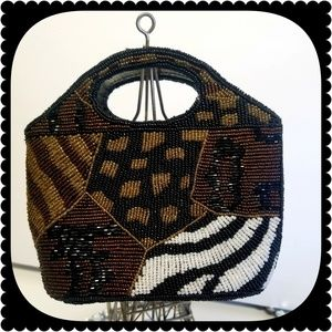 Handbags - Womens Beaded Animal Print Handbag